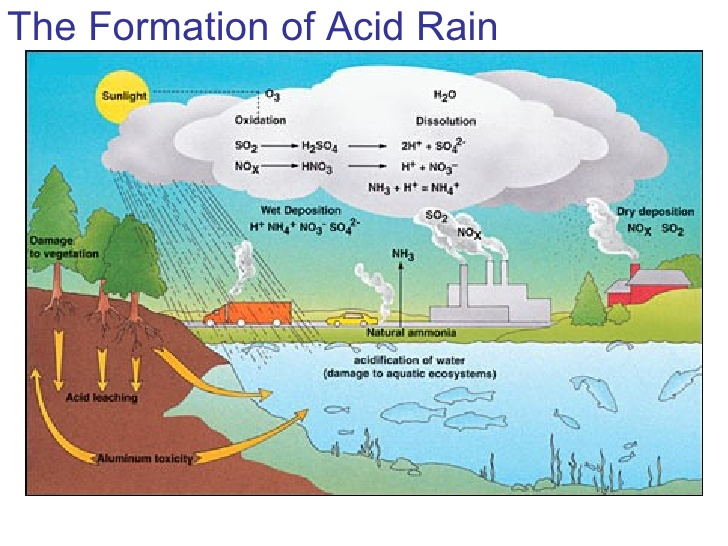 an analysis of acid rains the reactions between carbon dioxide and water the formation of nitric aci Sources of acid rain acid rain is caused by a chemical reaction that begins when compounds like sulfur dioxide and nitrogen oxides are released into the air these substances can rise very high into the atmosphere, where they mix and react with water, oxygen, and other chemicals to form more acidic pollutants, known as acid rain.