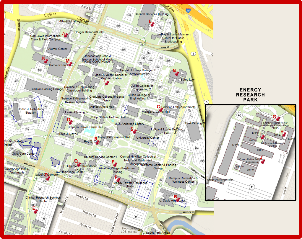 u of h campus map Houston University Campus Map
