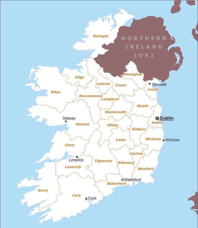 Cartina Politica Dell Irlanda.Irlanda