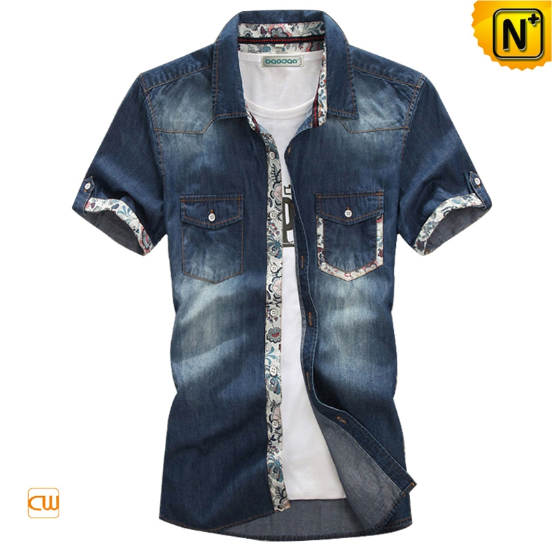 Houston Mens Fitted Denim Shirt Casual Shirt CW114322 - ThingLink