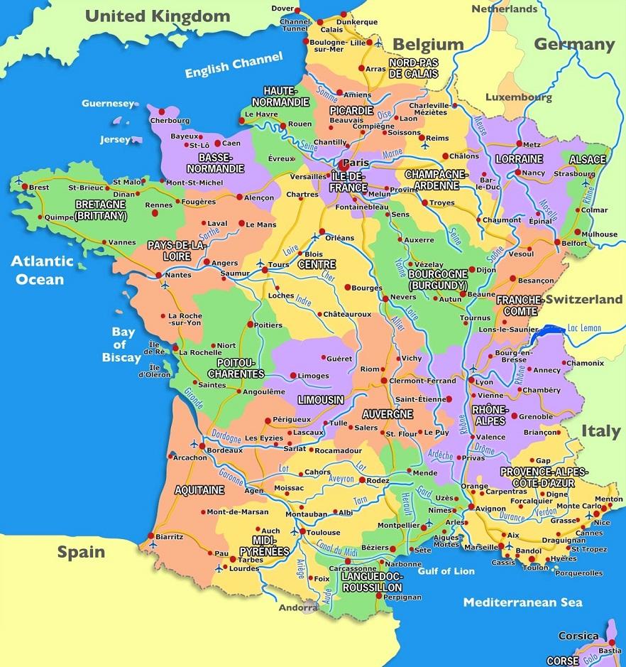 Francia Politica Cartina.La Francia Politica