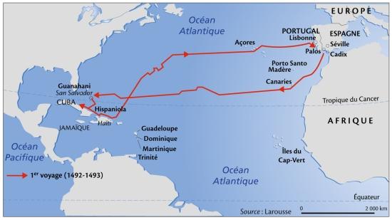 carte des voyages de christophe colomb Colomb en route vers l'Amérique
