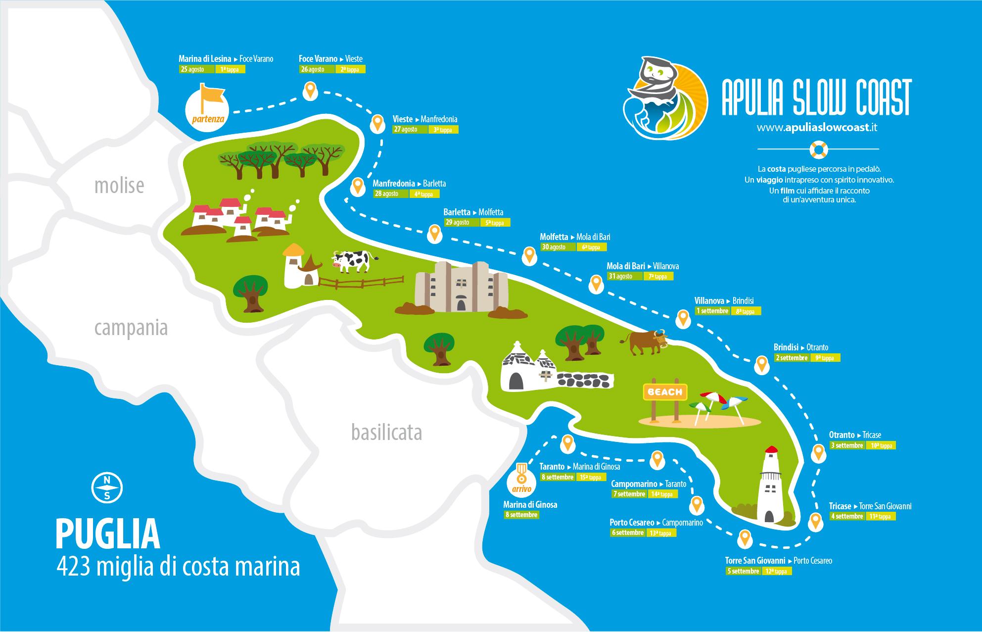 Cartina Puglia Molfetta.Apulia Slow Coast