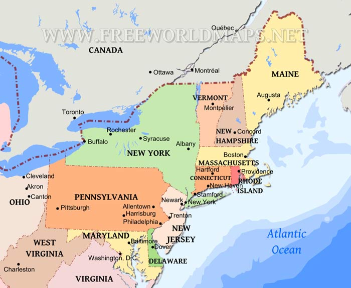 NorthEast US ThingLink - Map of us northeast