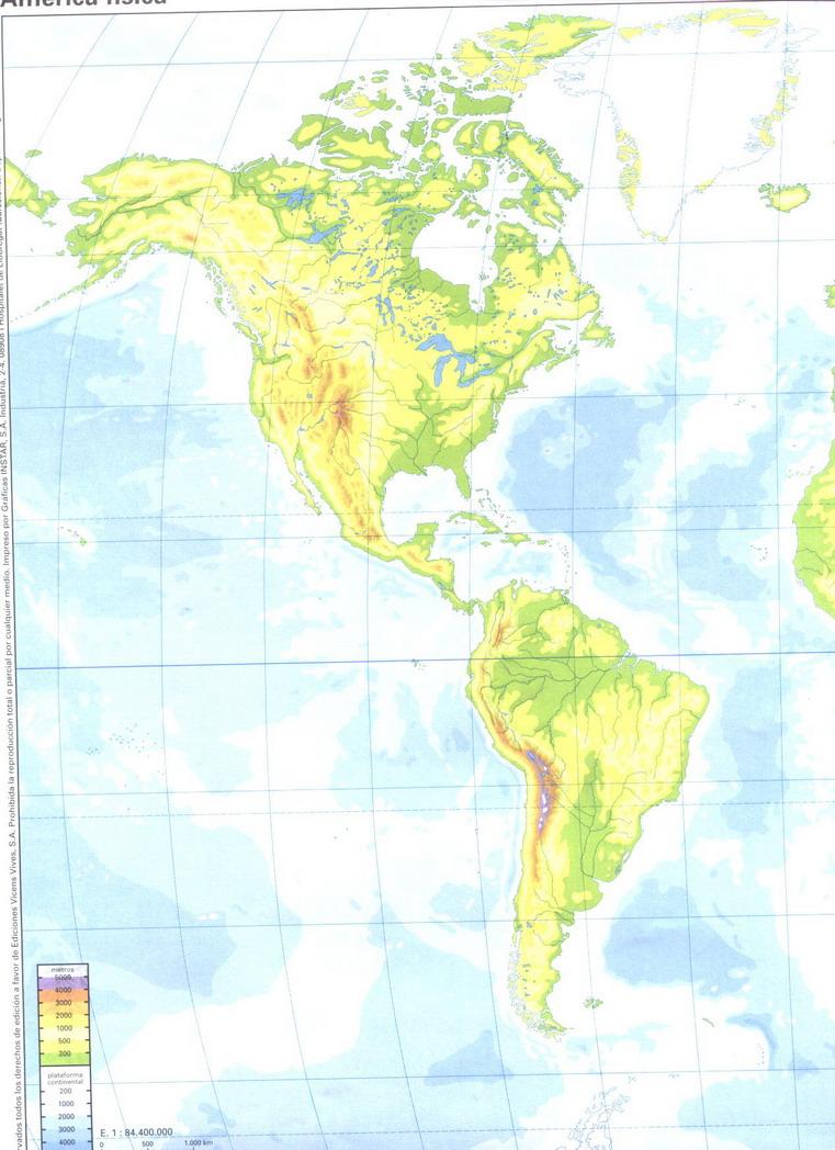 Mapa Fisico De America.America Mapa Fisico