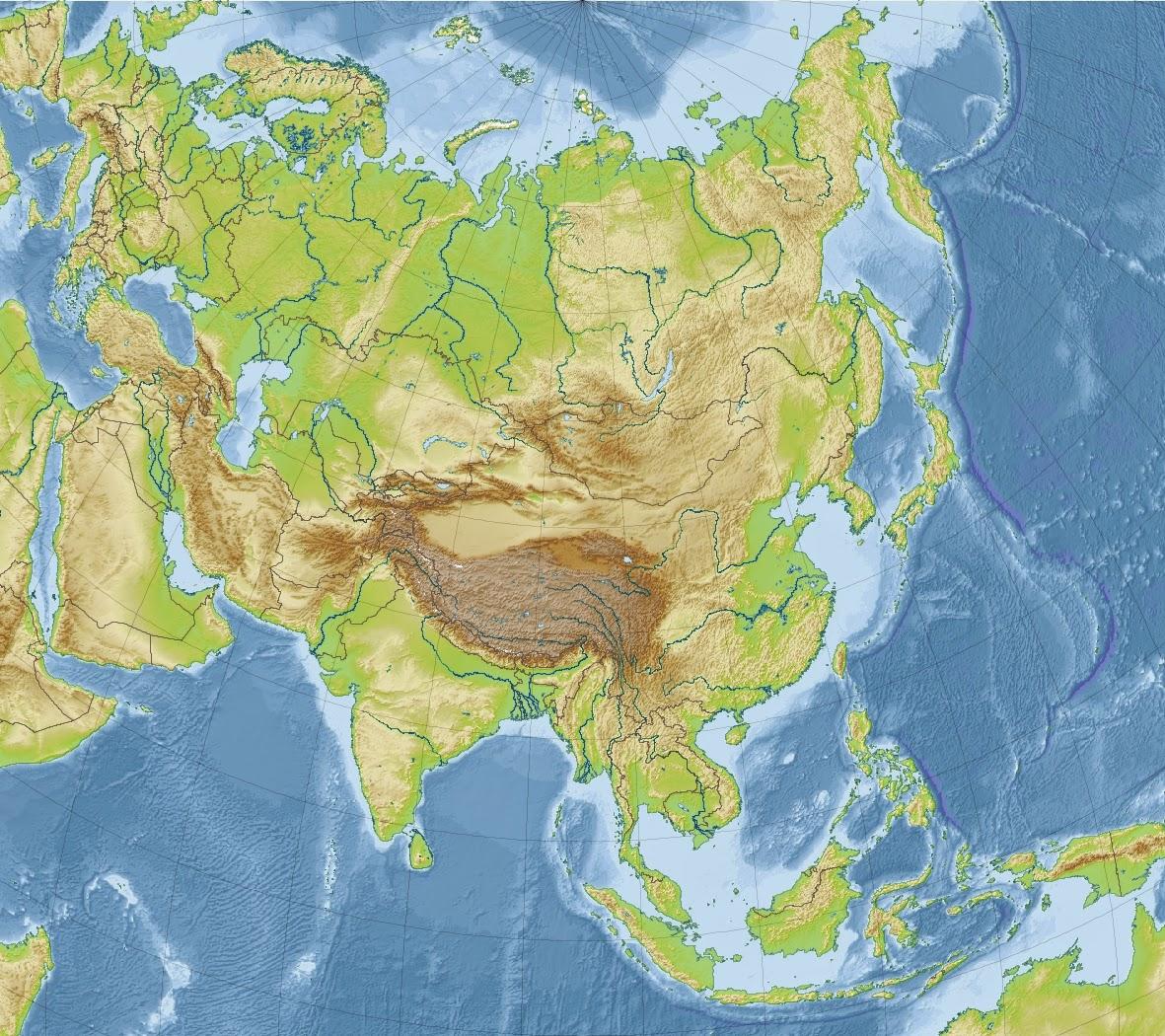 Rio Ganges Mapa Fisico.Mapa Fisico De Asia