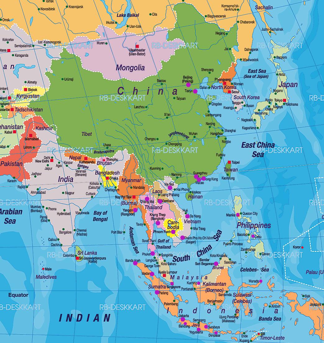 Plateau Of Tibet On Map Of Asia.Himalayas Mountains Plateau Of Tibet Taklamakan Desert