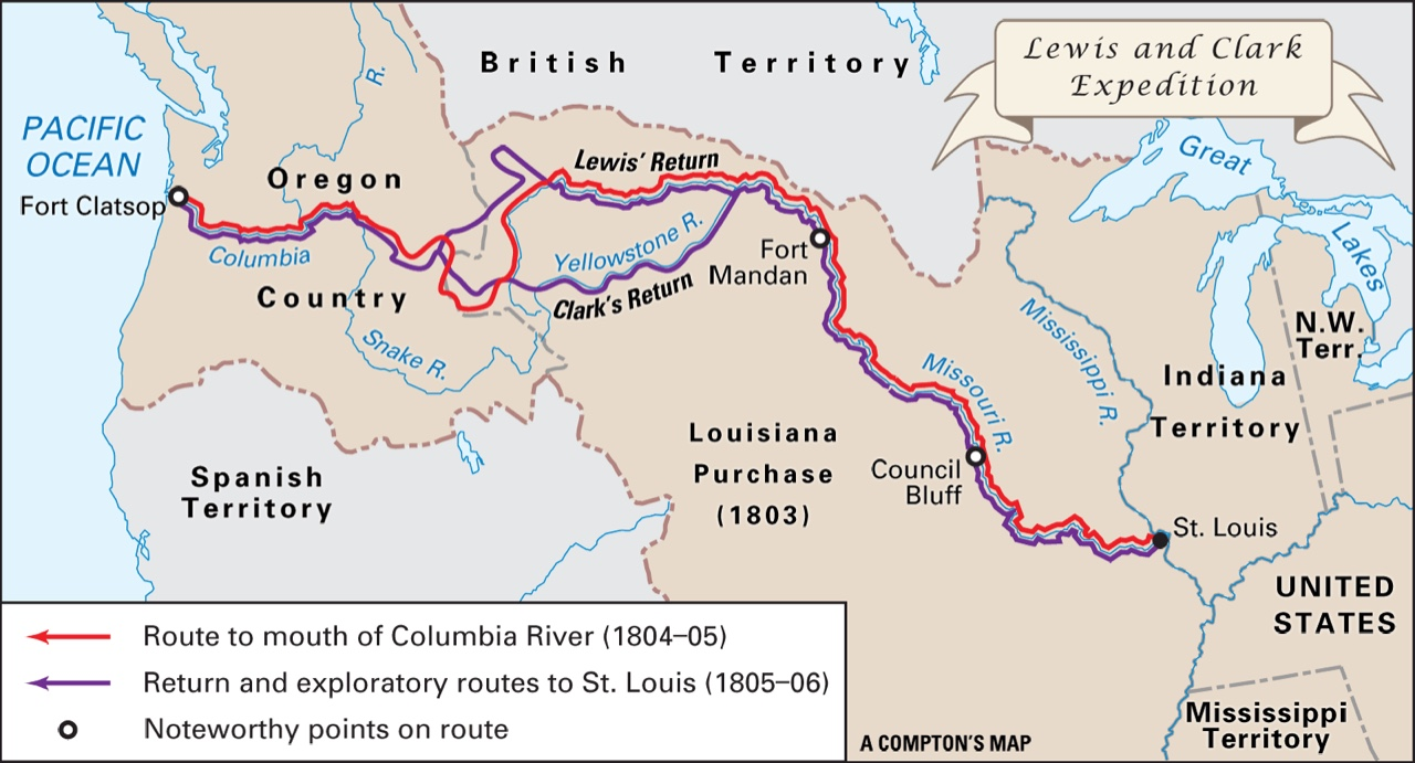 Lewis And Clark Period ThingLink - Fort clatsop on map of us