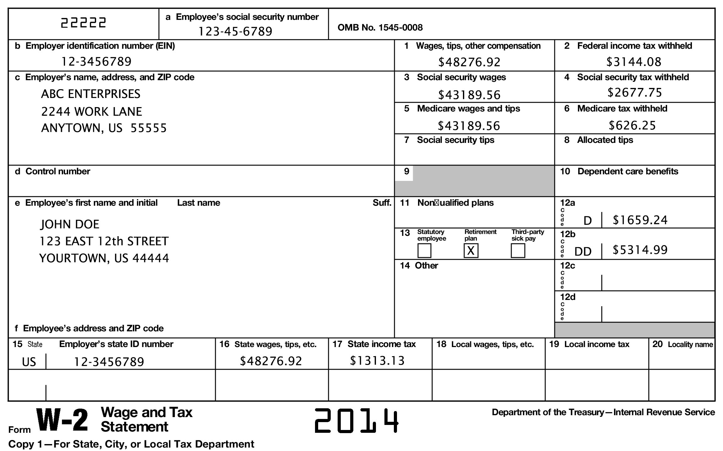Reading a W-2 Form - ThingLink