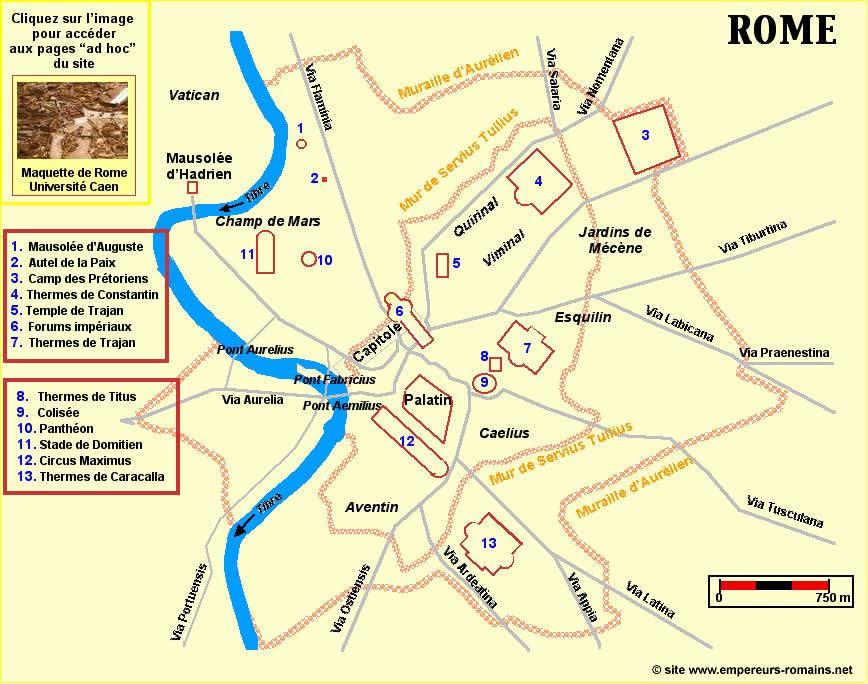 carte de rome antique Plan de la Rome antique