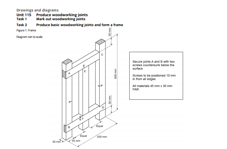 Unit 115 Task 2 Produce Wood Joints And Manufacture Frame