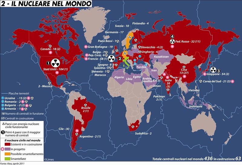 Cartina Centrali Nucleari Nel Mondo.Centrali Nucleari Nel Mondo
