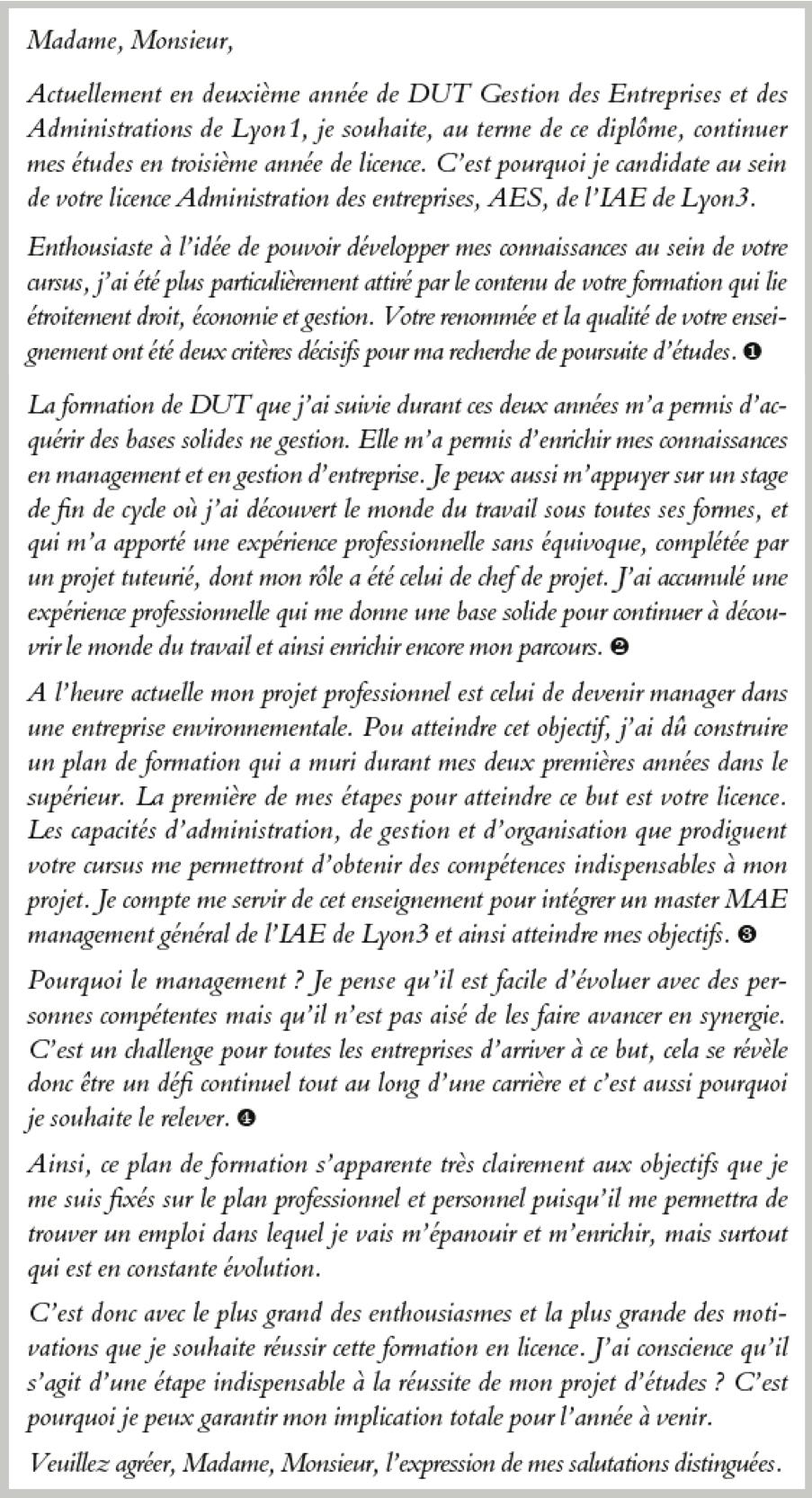 lettre de motivation aes