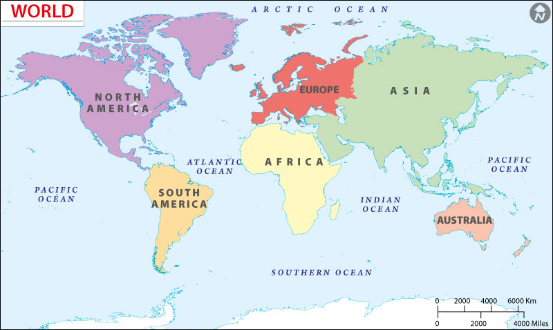 Aps Directions Continents ThingLink - World map 7 continents 4 oceans