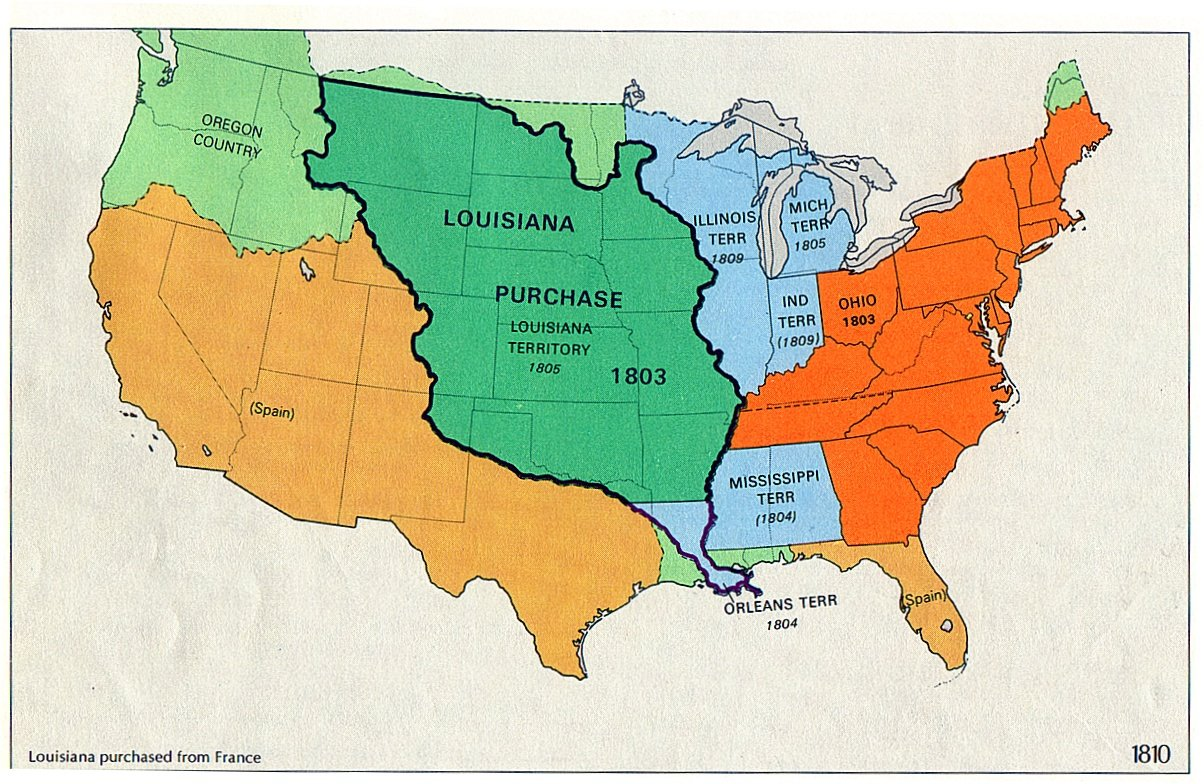 The History Of The Louisiana Purchase ThingLink - Map of us in 1805