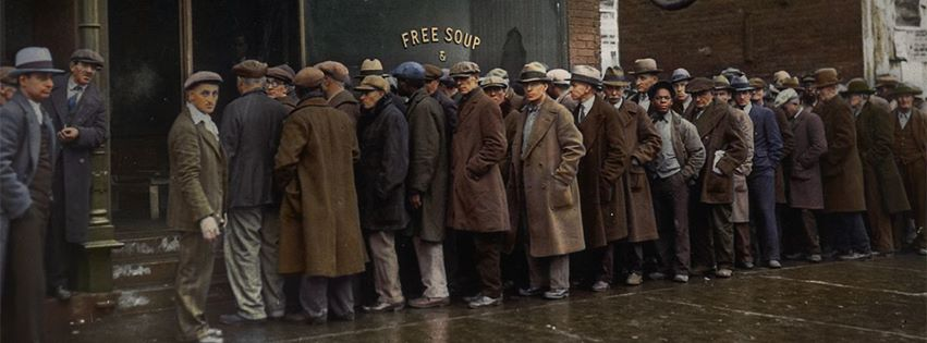 ... Food From A Soup Kitchen, But Take A Look At The Men Waiting In Line  Here. What Are They Wearing? What Does This Tell You About Who Was Affected  By The ...