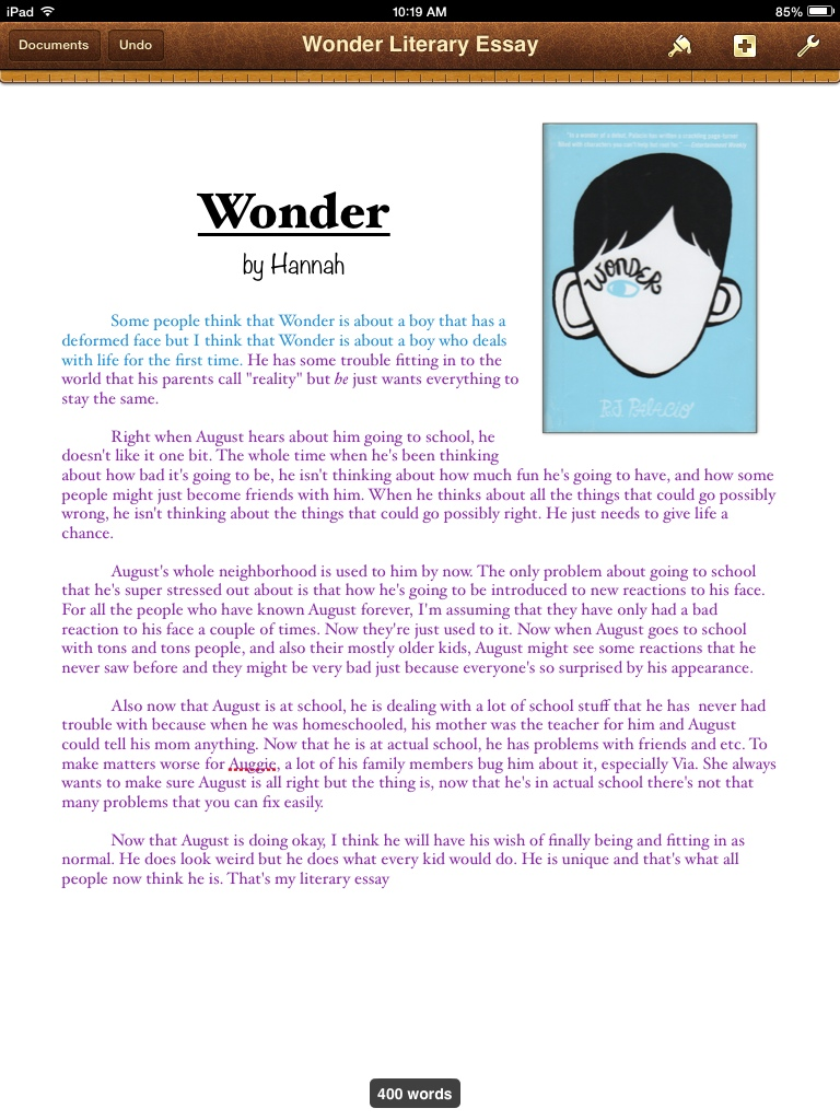 wonder literary essay by hannah