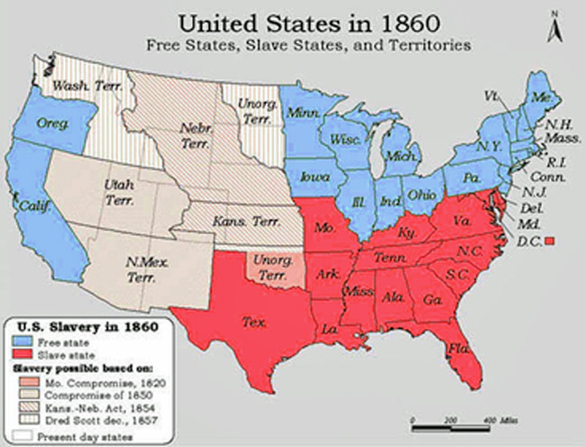 Until 1865 slave states were states where slavery was leg
