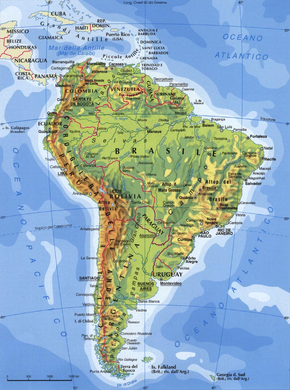 Cartina Fisica America Meridionale.America Meridionale