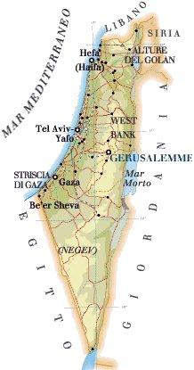 Cartina Fisica Palestina.Gerusalemme Capitale Israele