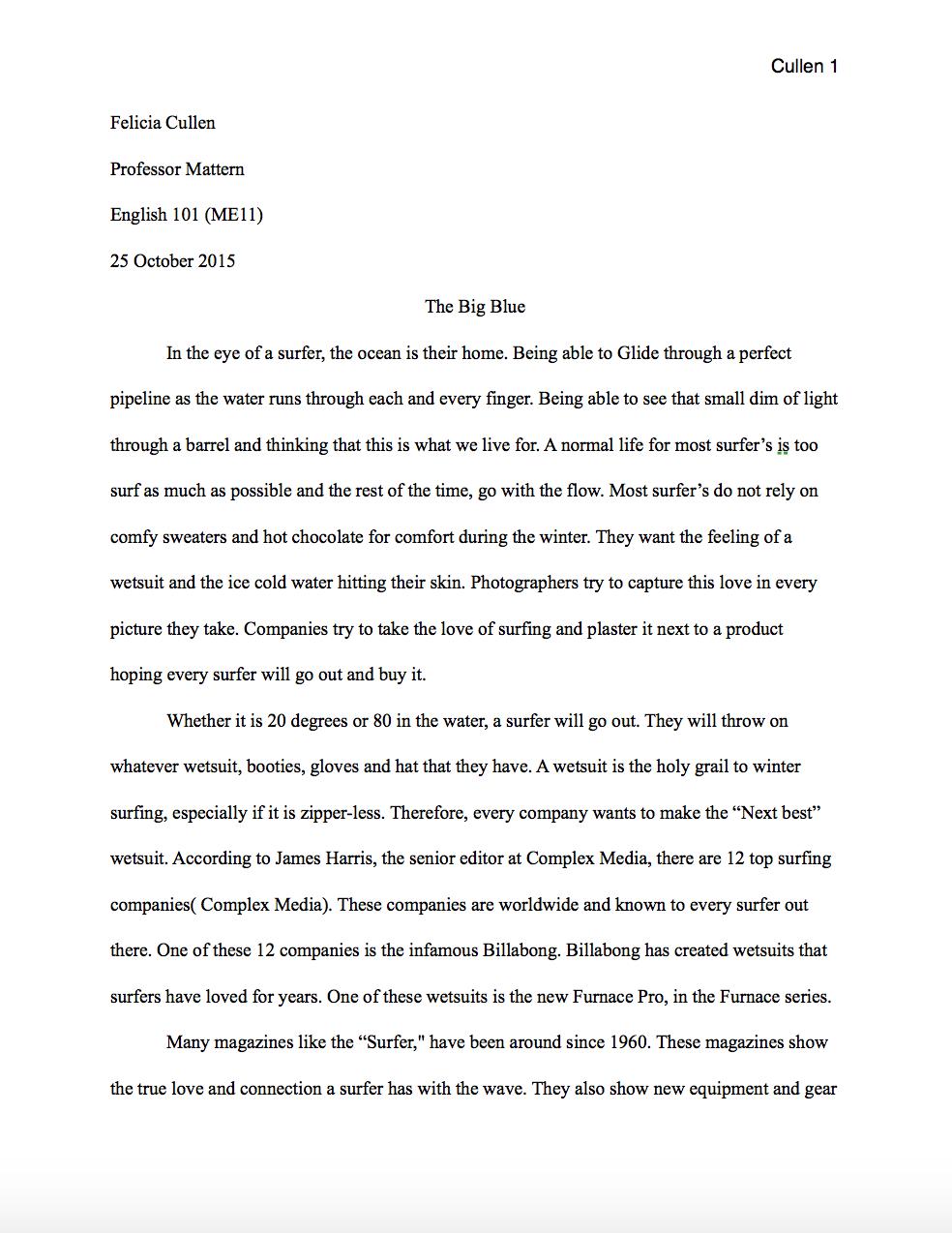 mla style essay format