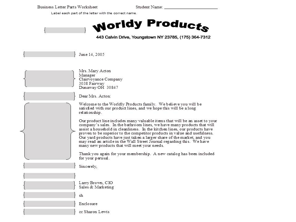 Parts Of A Business Letter Worksheet. - Thinglink