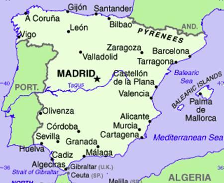 Mappa Spagna Orientale.Mappa Spagna Geografia