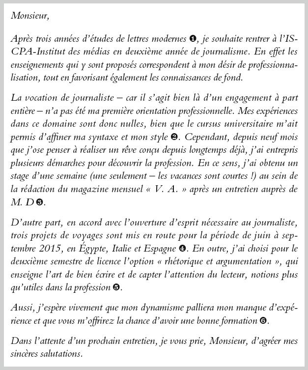 lettre de motivation italien