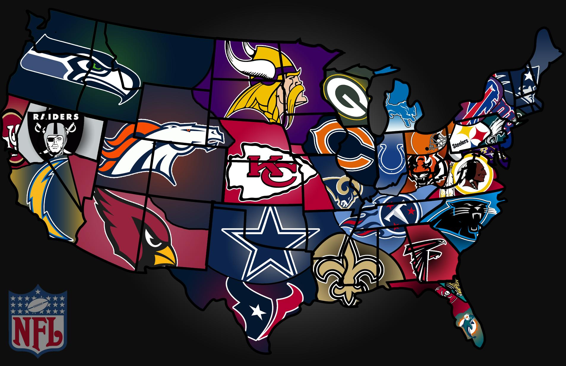 Nfl Us Map.Usa Map Of Nfl Teams