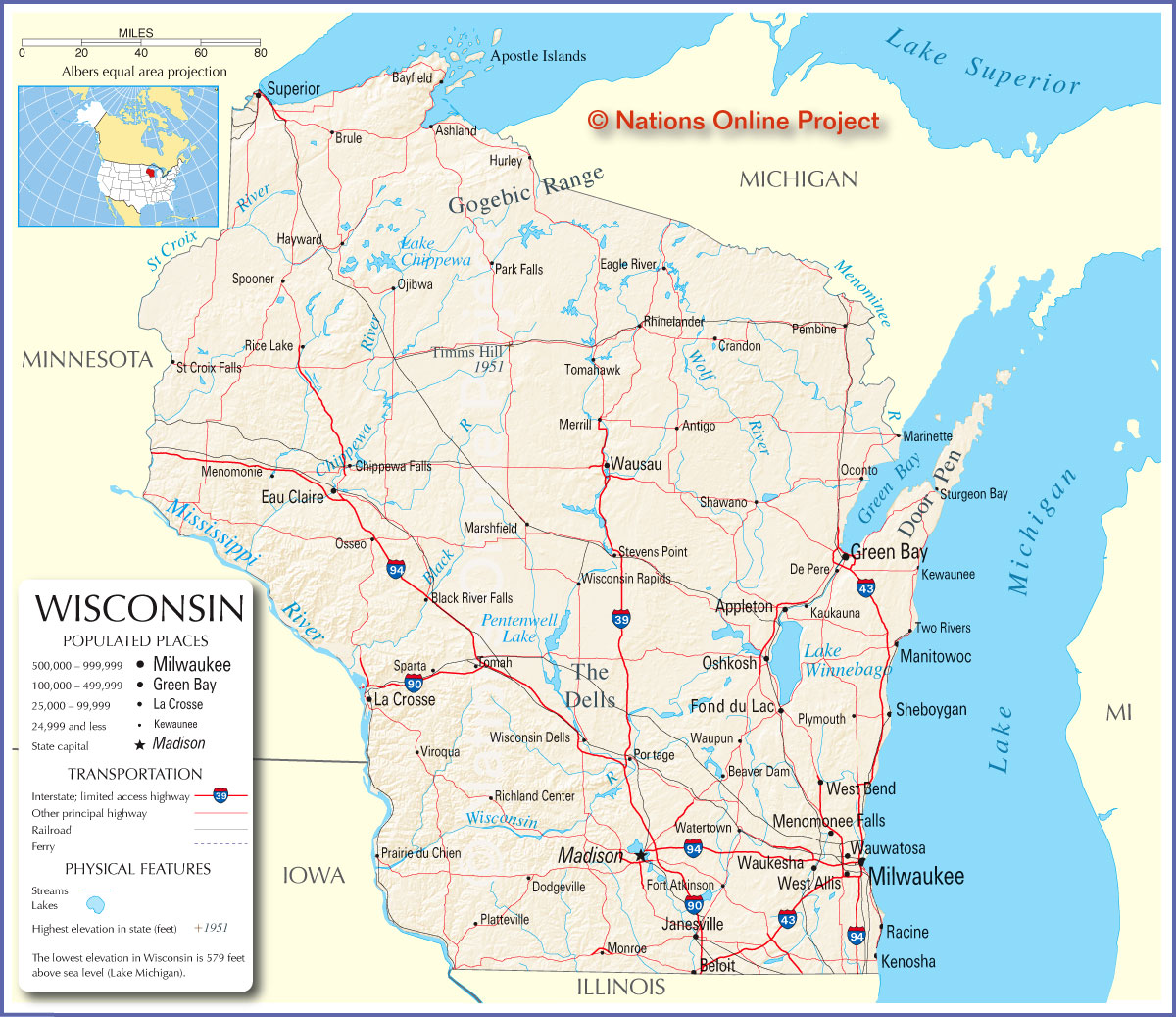 Us Map Names Of States Globalinterco - Wisconsin state map of us