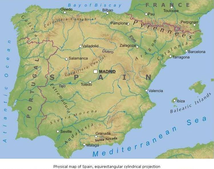 La Spagna Cartina Fisica.La Spagna