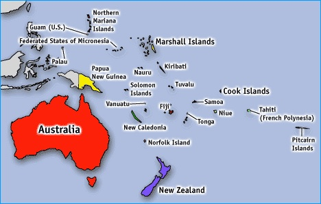 Australia And Oceania Map With Capitals Image Gallery Hcpr