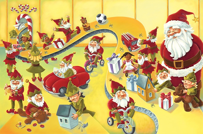 Image result for santa's elves working in the workshop
