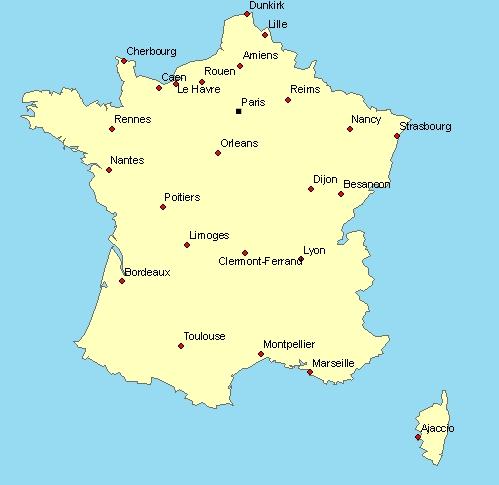 carte de france avec villes principales Principales actions de marketing citées en France en 2014