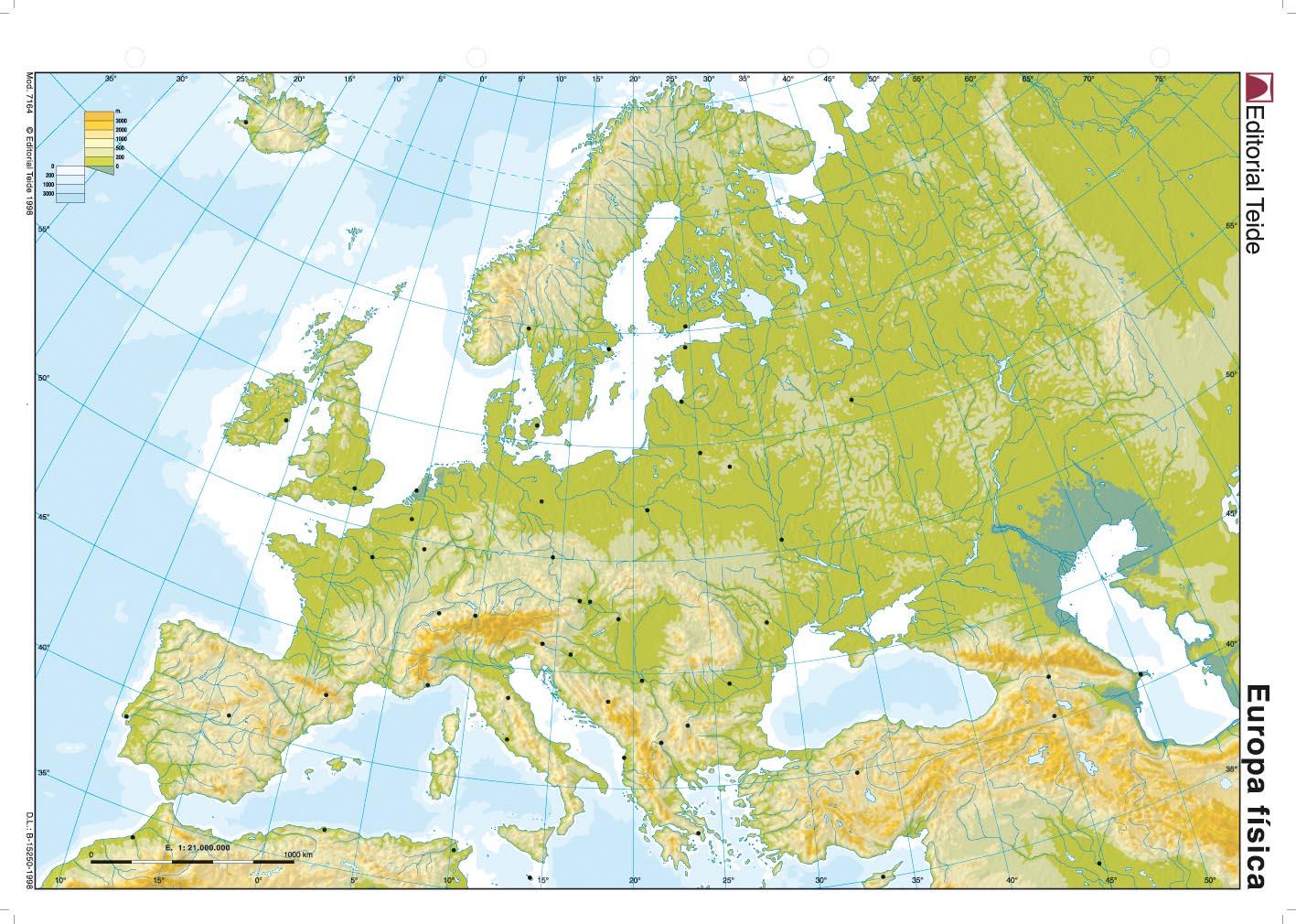 Mapa físico de Europa - ...