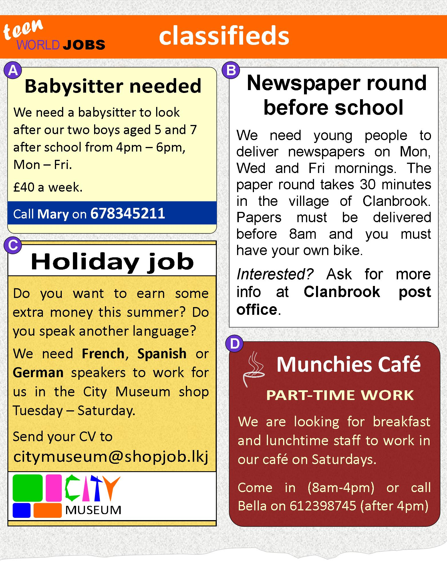 holiday jobs for students
