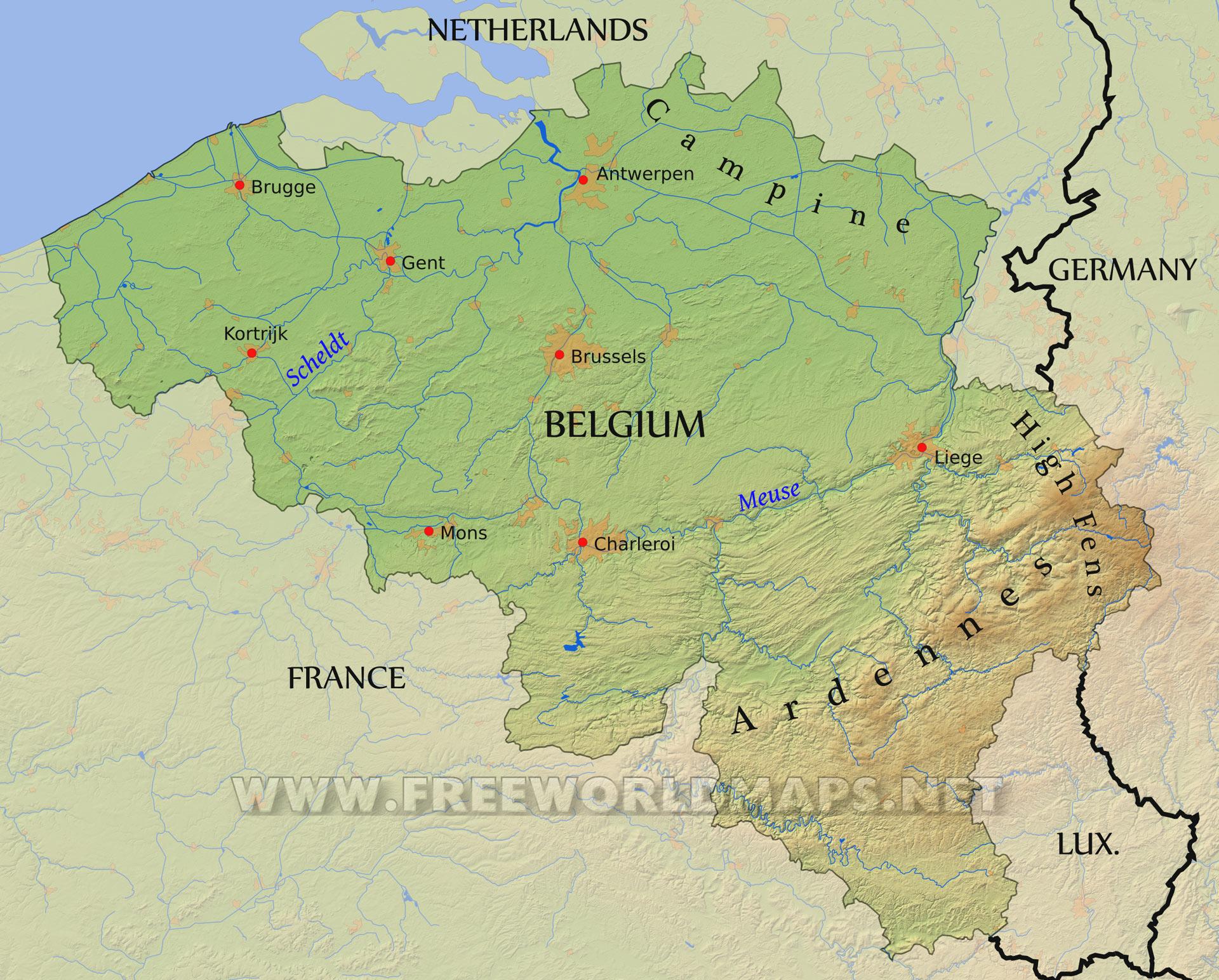 belium map physical map of belgium