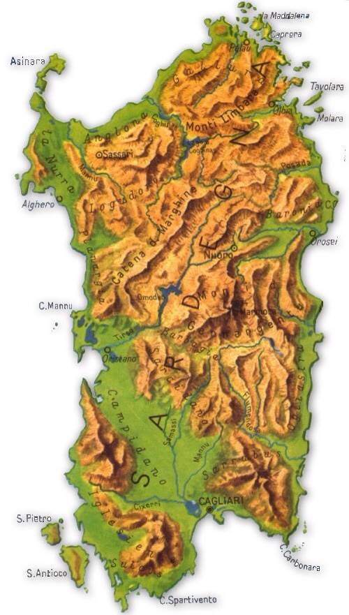 Isole Sardegna Cartina.Sardegna Mappa Fisica