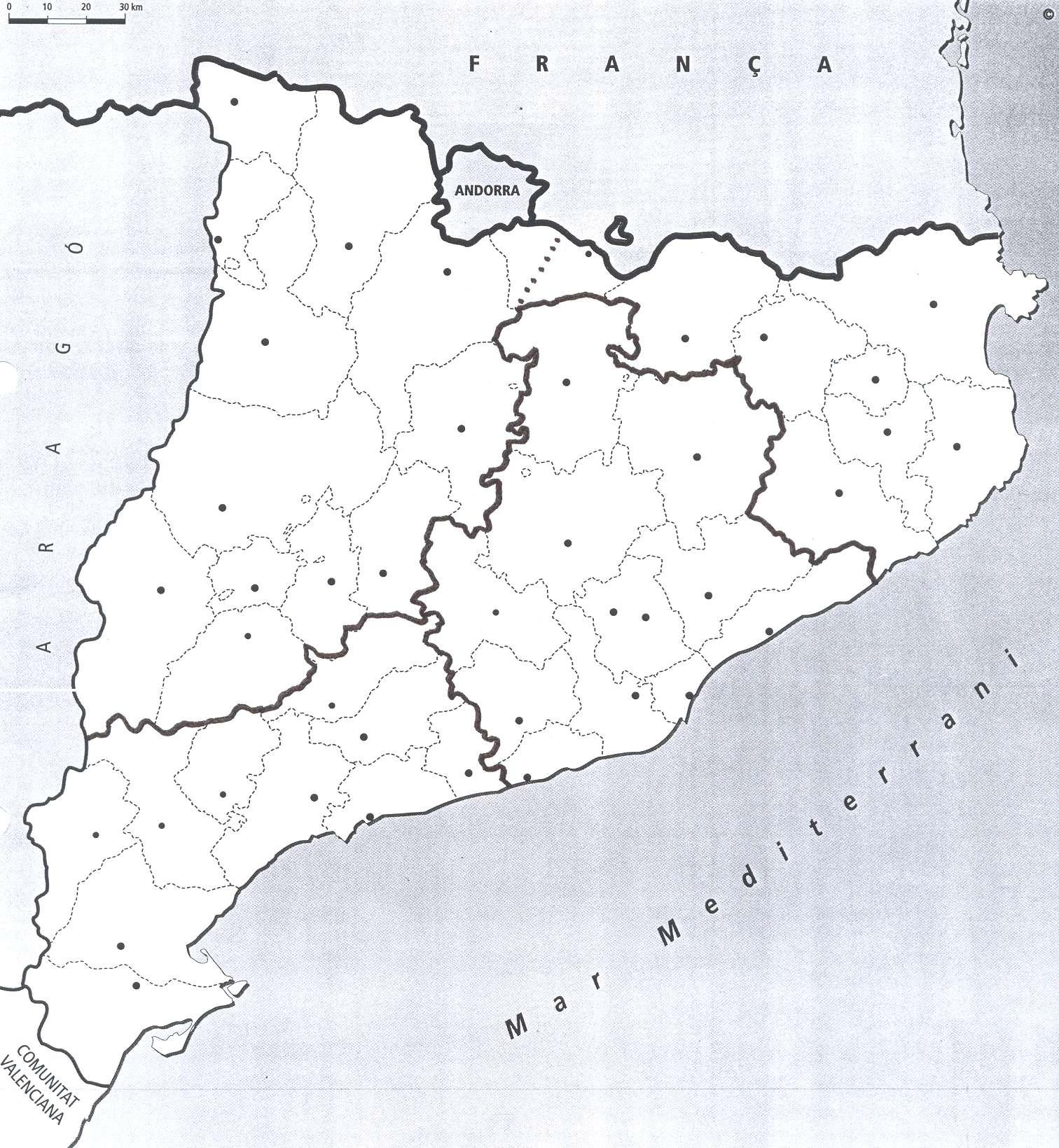 Mapa De Les Comarques De Catalunya I Capitals.Comarques