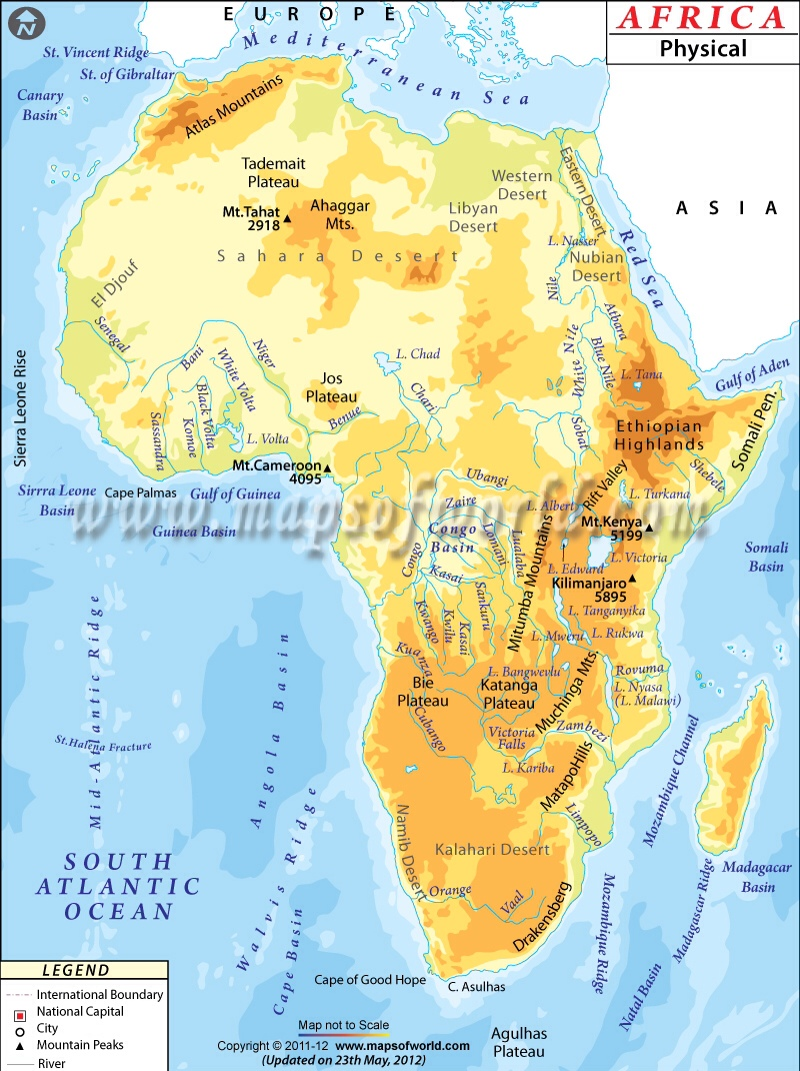 where is the serengeti plain on a map of africa Africa Physical Map where is the serengeti plain on a map of africa
