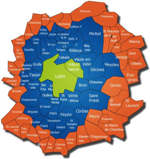 Carte de l'aire urbaine de Lyon   ThingLink