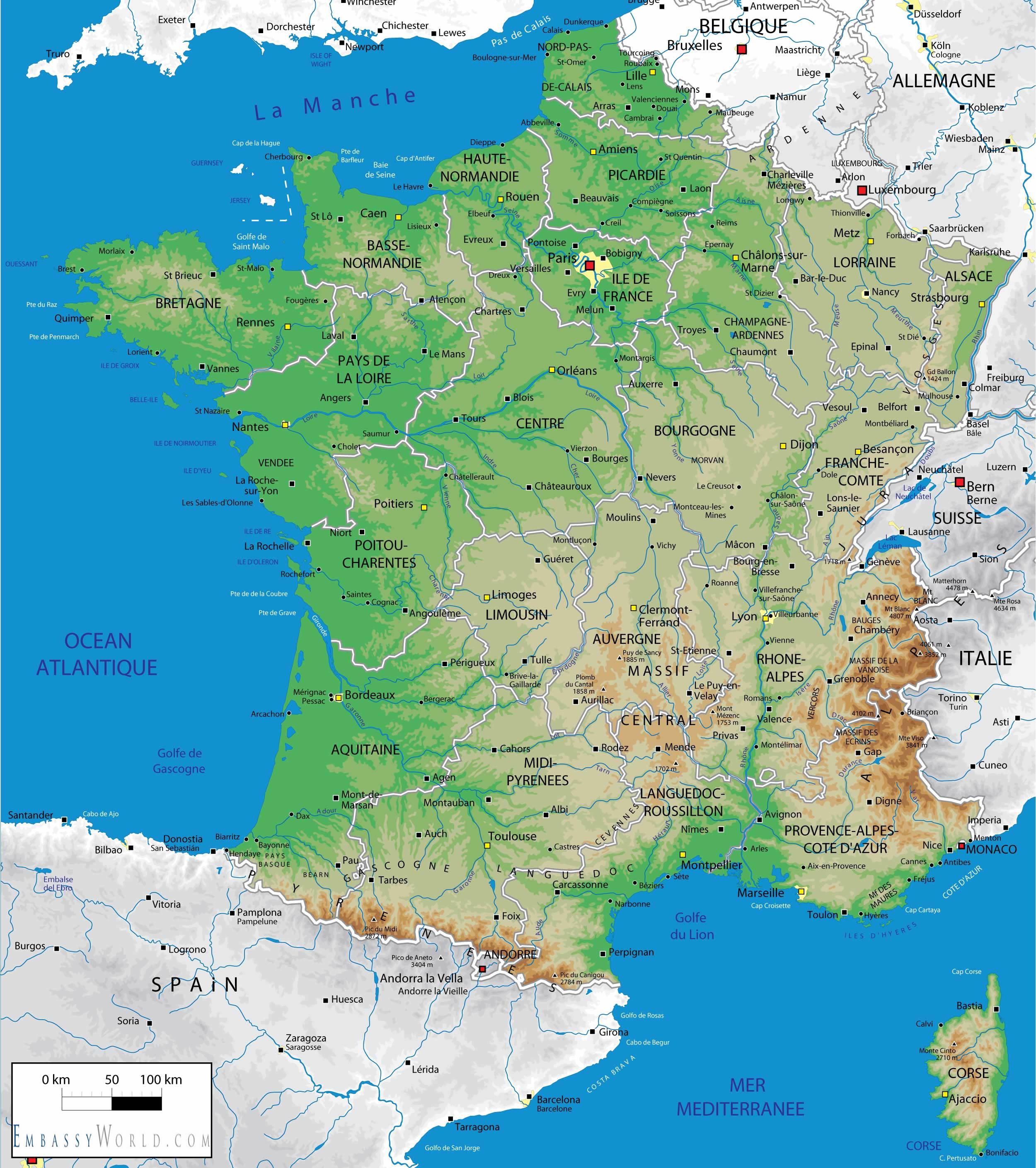 Cartina Francia Fisica In Francese.La Francia