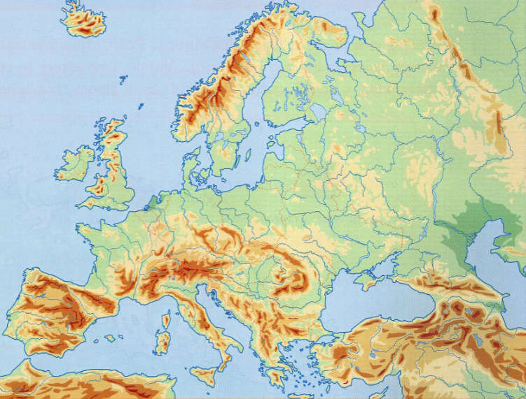 Cartina Muta Dell Europa Fisica.Laghi Europa Cartina