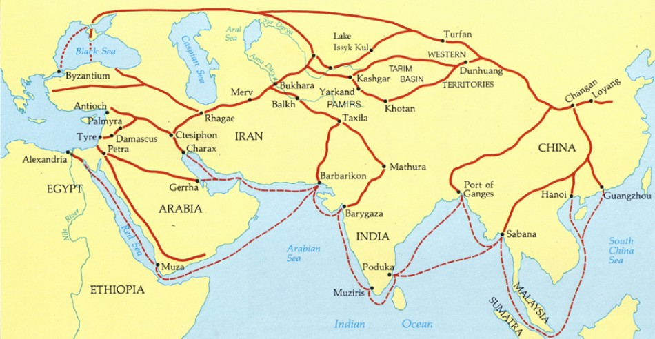 Image result for map of the silk road