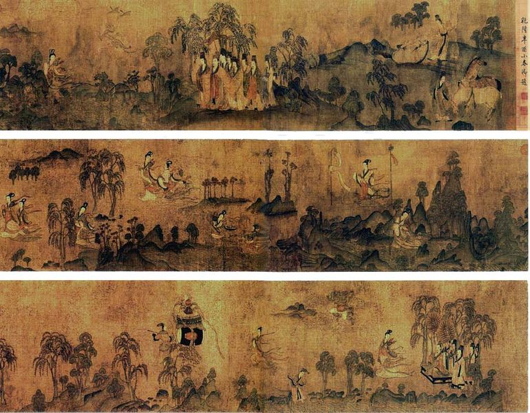 chinese hanging scroll art created with ink and color on