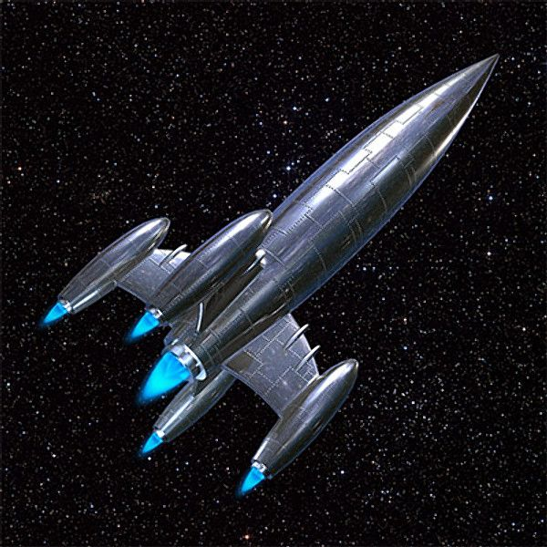 This is a rocket ship in space This is the rocket ships