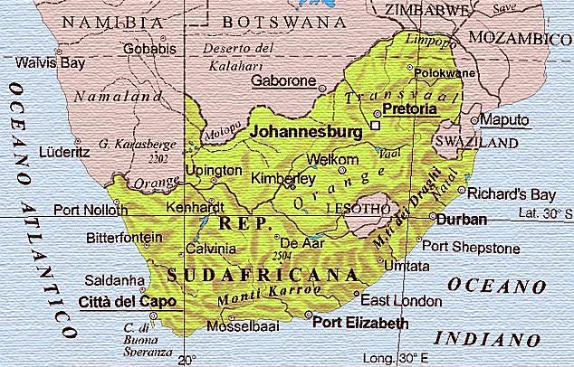 Cartina Africa Sud.Sudafrica